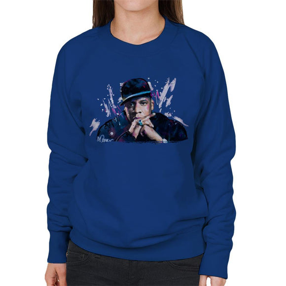 Sidney Maurer Original Portrait Of Jay Z The Black Album Womens Sweatshirt - Womens Sweatshirt