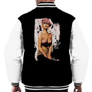 Sidney Maurer Original Portrait Of Kate Moss Pink Hat And Bra Mens Varsity Jacket - Mens Varsity Jacket