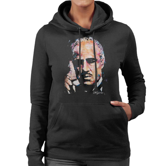Sidney Maurer Original Portrait Of Marlon Brando Womens Hooded Sweatshirt - Womens Hooded Sweatshirt