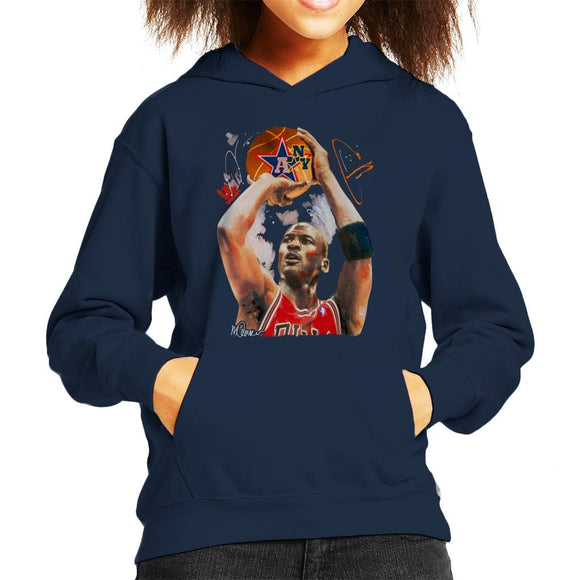 Sidney Maurer Original Portrait Of Michael Jordan Bulls Red Jersey Kids Hooded Sweatshirt - Kids Boys Hooded Sweatshirt