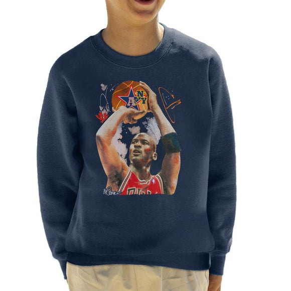 Sidney Maurer Original Portrait Of Michael Jordan Bulls Red Jersey Kids Sweatshirt - Kids Boys Sweatshirt