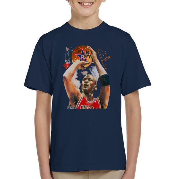 Sidney Maurer Original Portrait Of Michael Jordan Bulls Red Jersey Kids T-Shirt - Kids Boys T-Shirt