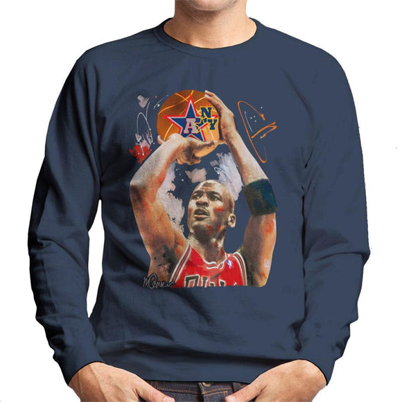 Sidney Maurer Original Portrait Of Michael Jordan Bulls Red Jersey Mens Sweatshirt - Mens Sweatshirt