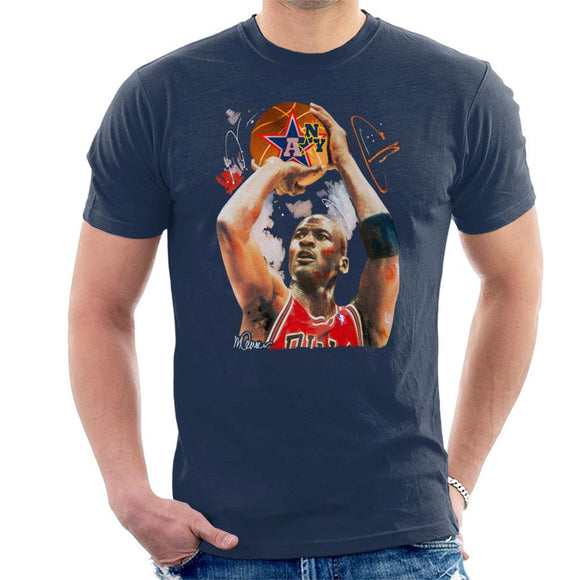 Sidney Maurer Original Portrait Of Michael Jordan Bulls Red Jersey Mens T-Shirt - Mens T-Shirt