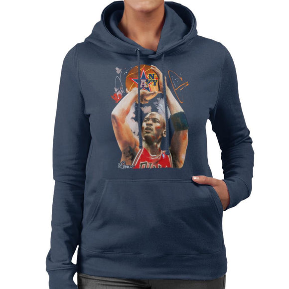 Sidney Maurer Original Portrait Of Michael Jordan Bulls Red Jersey Womens Hooded Sweatshirt - Womens Hooded Sweatshirt