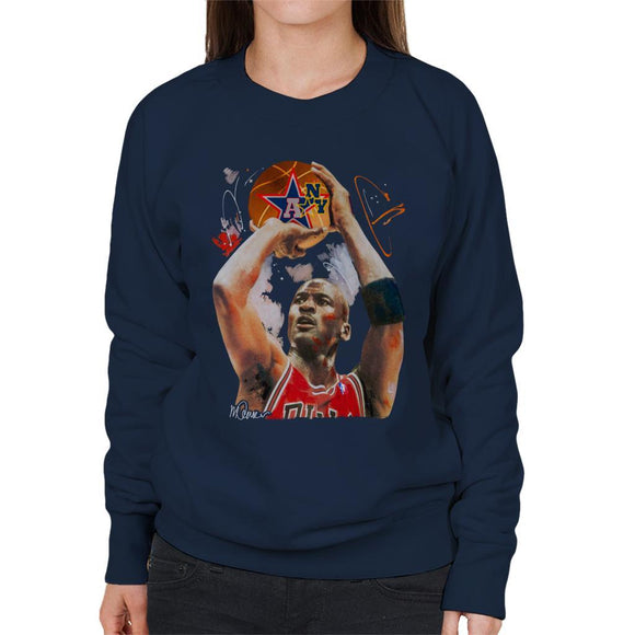 Sidney Maurer Original Portrait Of Michael Jordan Bulls Red Jersey Womens Sweatshirt - Womens Sweatshirt