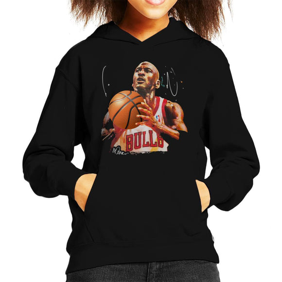 Sidney Maurer Original Portrait Of Michael Jordan Bulls White Jersey Kids Hooded Sweatshirt - Kids Boys Hooded Sweatshirt