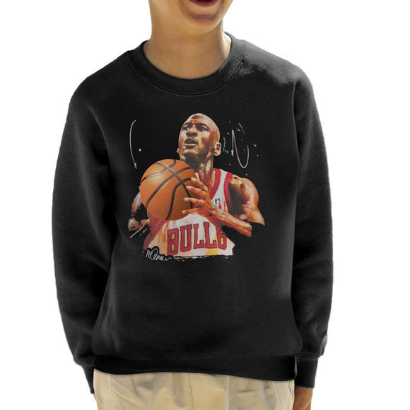 Sidney Maurer Original Portrait Of Michael Jordan Bulls White Jersey Kids Sweatshirt - Kids Boys Sweatshirt