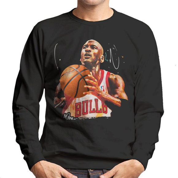 Sidney Maurer Original Portrait Of Michael Jordan Bulls White Jersey Mens Sweatshirt - Mens Sweatshirt