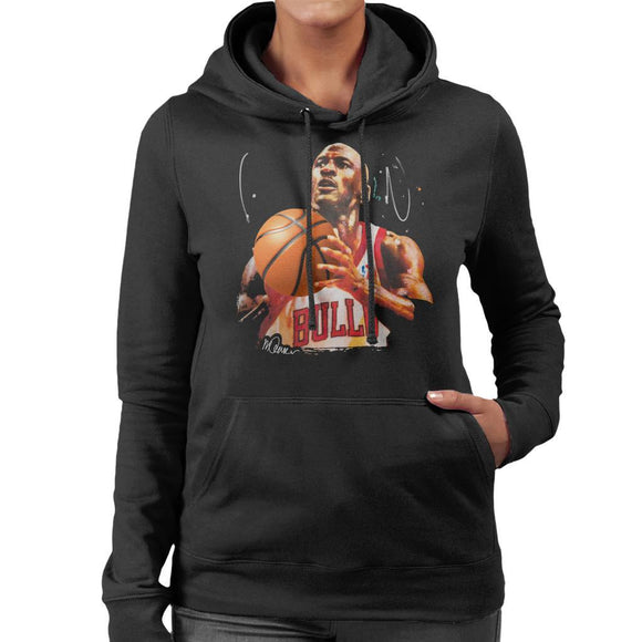 Sidney Maurer Original Portrait Of Michael Jordan Bulls White Jersey Womens Hooded Sweatshirt - Womens Hooded Sweatshirt