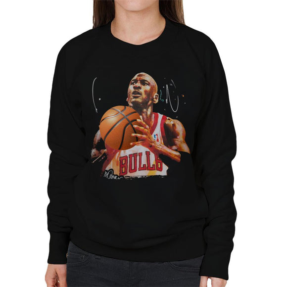 Sidney Maurer Original Portrait Of Michael Jordan Bulls White Jersey Womens Sweatshirt - Womens Sweatshirt