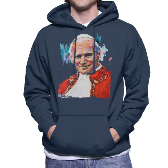 Sidney Maurer Original Portrait Of Pope John Paul II Mens Hooded Sweatshirt - Mens Hooded Sweatshirt