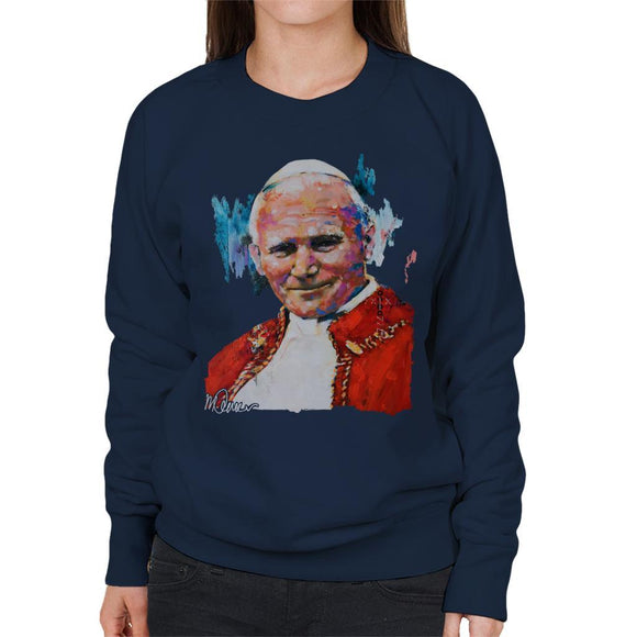 Sidney Maurer Original Portrait Of Pope John Paul II Womens Sweatshirt - Womens Sweatshirt