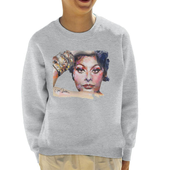 Sidney Maurer Original Portrait Of Sophia Loren Kids Sweatshirt - Kids Boys Sweatshirt
