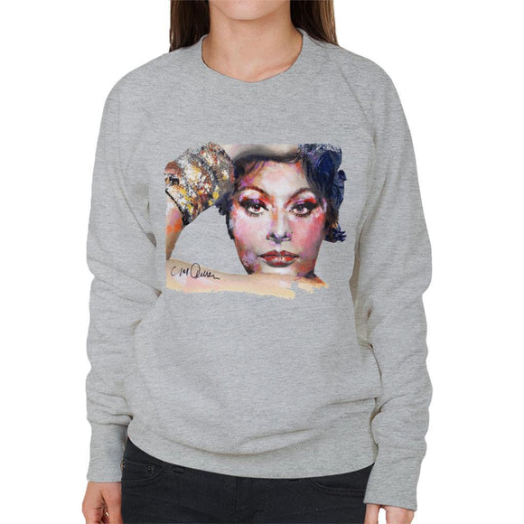 Sidney Maurer Original Portrait Of Sophia Loren Womens Sweatshirt - Womens Sweatshirt