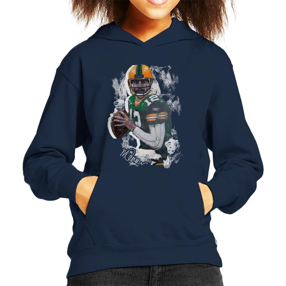 Sidney Maurer Original Portrait Of Aaron Rodgers Kid's Hooded Sweatshirt
