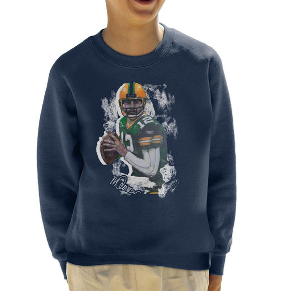 Sidney Maurer Original Portrait Of Aaron Rodgers Kid's Sweatshirt