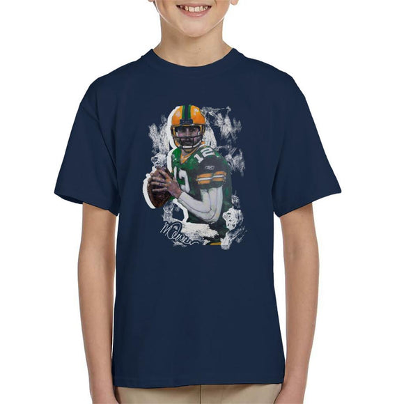 Sidney Maurer Original Portrait Of Aaron Rodgers Kid's T-Shirt