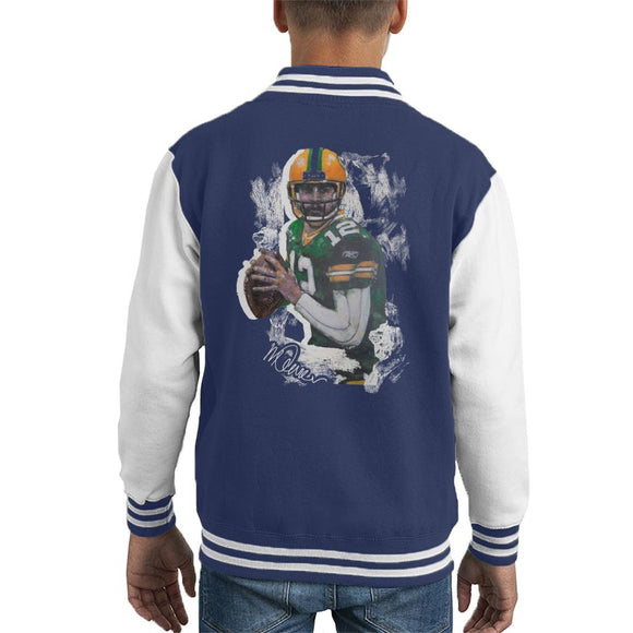 Sidney Maurer Original Portrait Of Aaron Rodgers Kid's Varsity Jacket