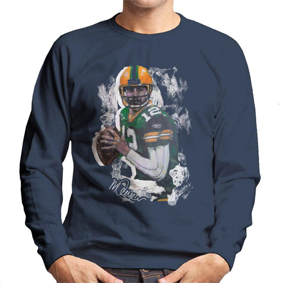 Sidney Maurer Original Portrait Of Aaron Rodgers Men's Sweatshirt
