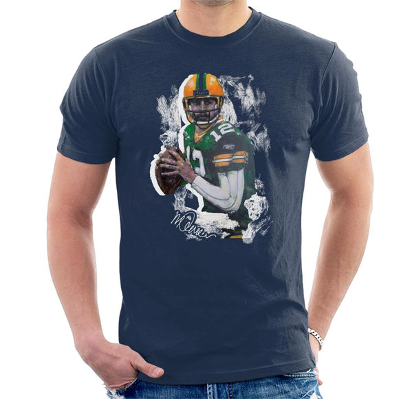 Sidney Maurer Original Portrait Of Aaron Rodgers Men's T-Shirt