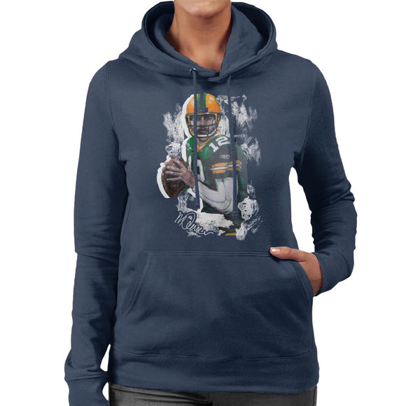 Sidney Maurer Original Portrait Of Aaron Rodgers Women's Hooded Sweatshirt