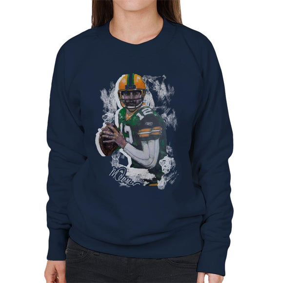 Sidney Maurer Original Portrait Of Aaron Rodgers Women's Sweatshirt