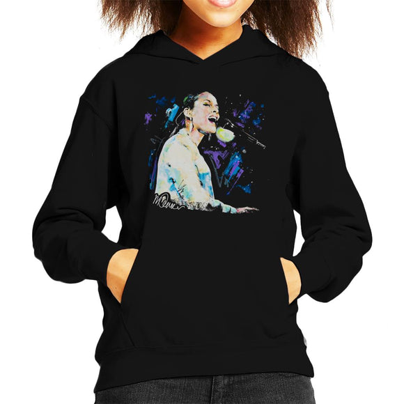 Sidney Maurer Original Portrait Of Alicia Keys Kid's Hooded Sweatshirt