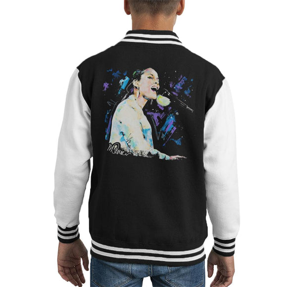 Sidney Maurer Original Portrait Of Alicia Keys Kid's Varsity Jacket