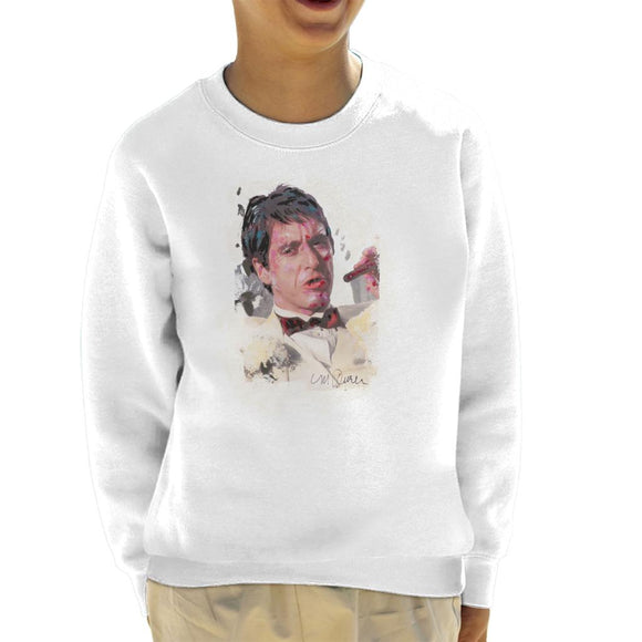Sidney Maurer Original Portrait Of Al Pacino Scarface Tuxedo Kid's Sweatshirt