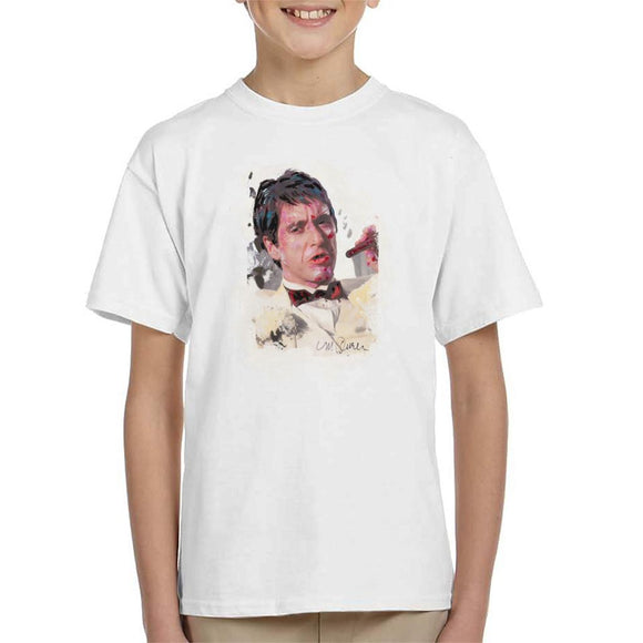 Sidney Maurer Original Portrait Of Al Pacino Scarface Tuxedo Kid's T-Shirt