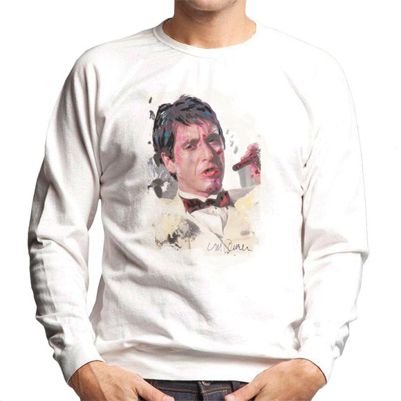 Sidney Maurer Original Portrait Of Al Pacino Scarface Tuxedo Men's Sweatshirt
