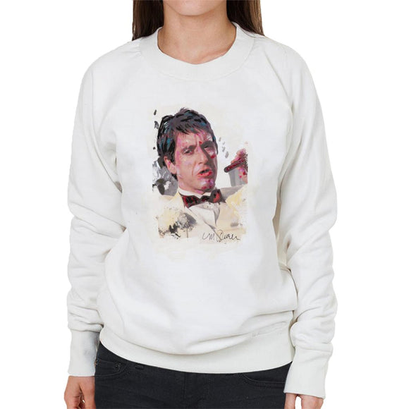 Sidney Maurer Original Portrait Of Al Pacino Scarface Tuxedo Women's Sweatshirt