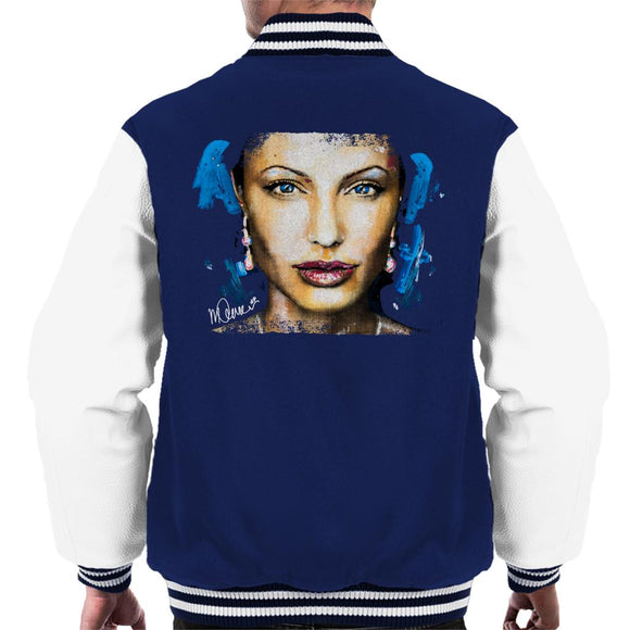 Sidney Maurer Original Portrait Of Angelina Jolie Men's Varsity Jacket