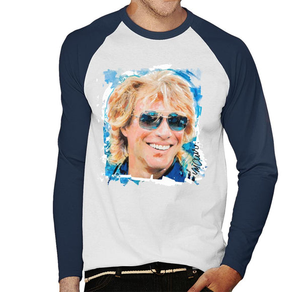 Sidney Maurer Original Portrait Of Jon Bon Jovi Men's Baseball Long Sleeved T-Shirt
