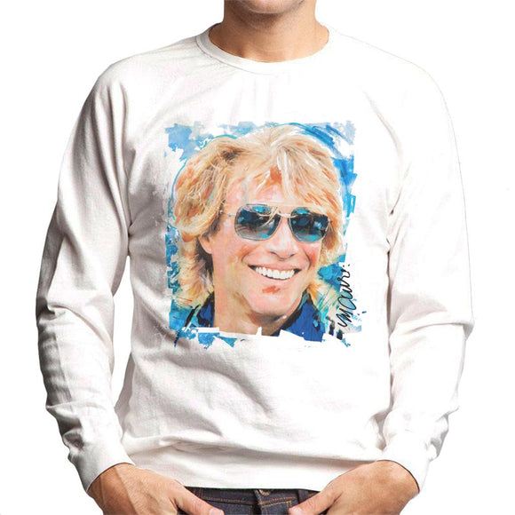 Sidney Maurer Original Portrait Of Jon Bon Jovi Men's Sweatshirt