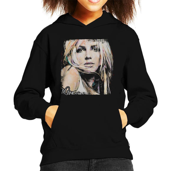 Sidney Maurer Original Portrait Of Britney Spears Kid's Hooded Sweatshirt