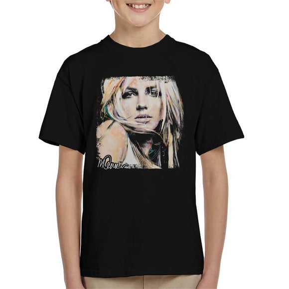 Sidney Maurer Original Portrait Of Britney Spears Kid's T-Shirt