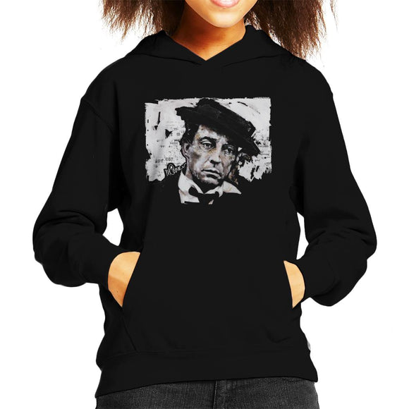 Sidney Maurer Original Portrait Of Buster Keaton Kid's Hooded Sweatshirt