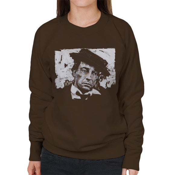 Sidney Maurer Original Portrait Of Buster Keaton Women's Sweatshirt