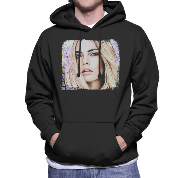 Sidney Maurer Original Portrait Of Cara Delevingne Men's Hooded Sweatshirt