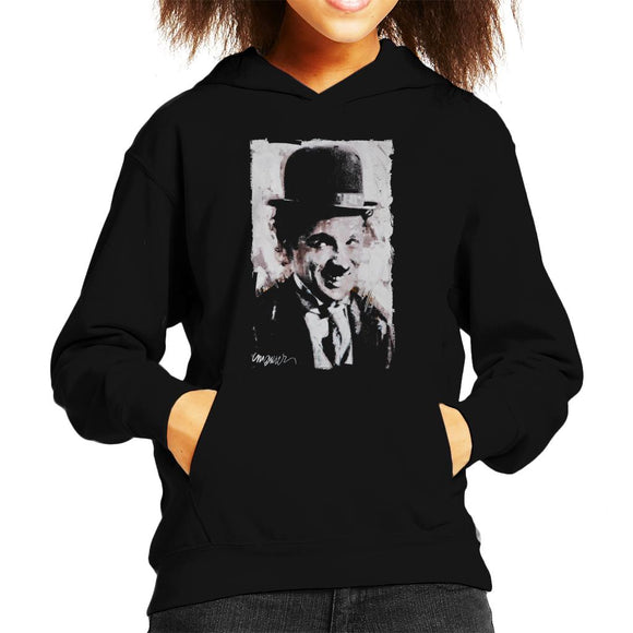Sidney Maurer Original Portrait Of Charlie Chaplin Smiling Kid's Hooded Sweatshirt