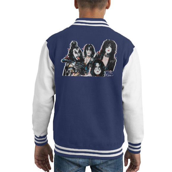 Sidney Maurer Original Portrait Of Kiss Gene Simmons Kid's Varsity Jacket