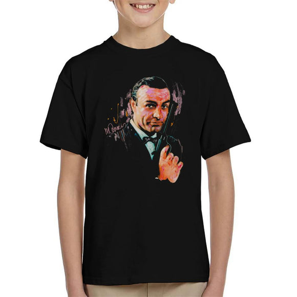 Sidney Maurer Original Portrait Of Sean Connery James Bond Kid's T-Shirt