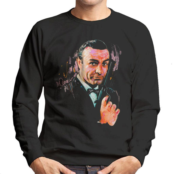 Sidney Maurer Original Portrait Of Sean Connery James Bond Men's Sweatshirt