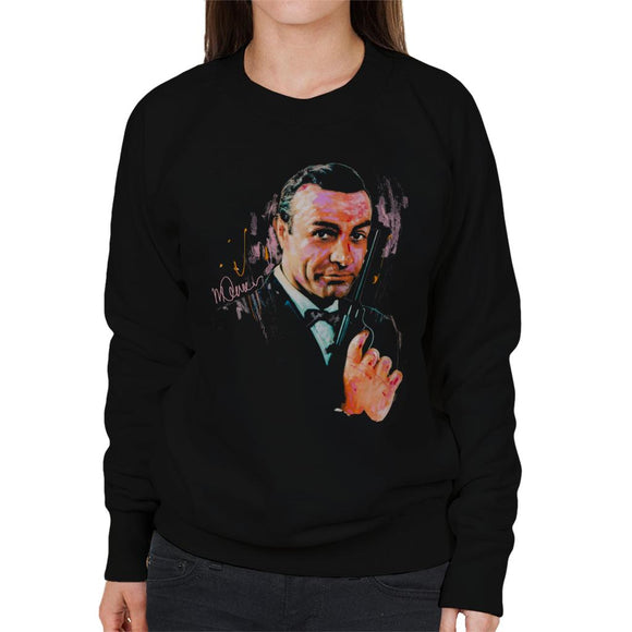 Sidney Maurer Original Portrait Of Sean Connery James Bond Women's Sweatshirt