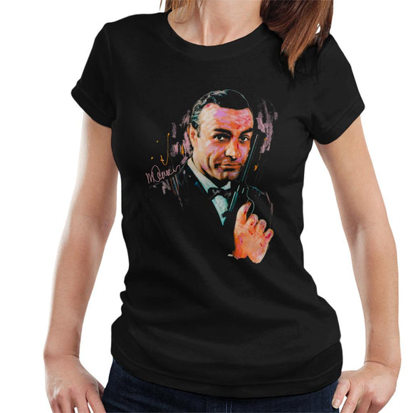 Sidney Maurer Original Portrait Of Sean Connery James Bond Women's T-Shirt