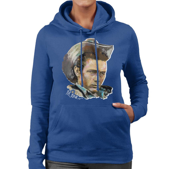Sidney Maurer Original Portrait Of James Dean Cowboy Hat Women's Hooded Sweatshirt