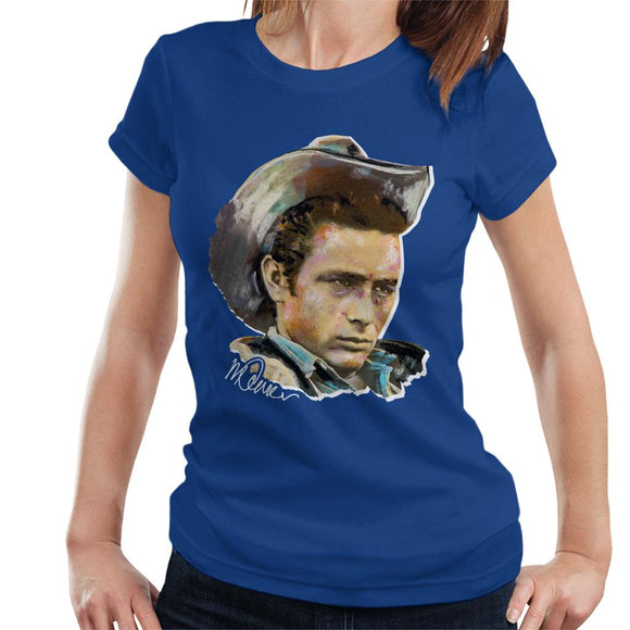 Sidney Maurer Original Portrait Of James Dean Cowboy Hat Women's T-Shirt