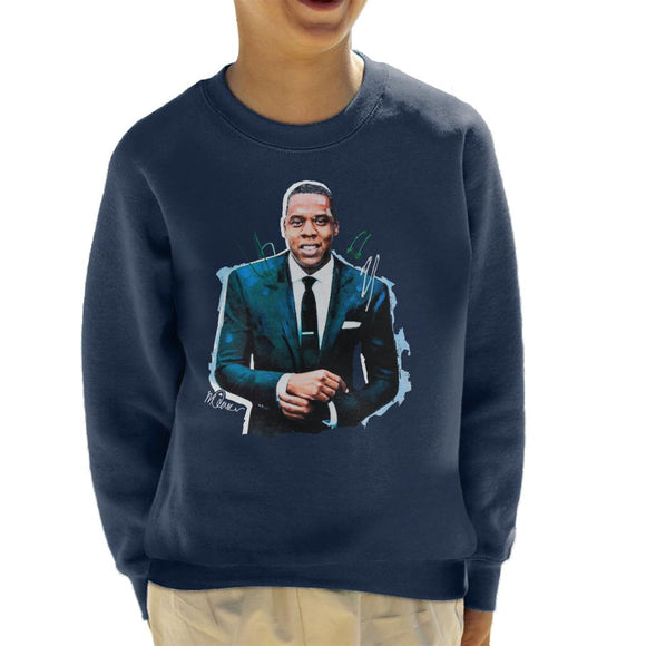 Sidney Maurer Original Portrait Of Jay Z Suit Kid's Sweatshirt